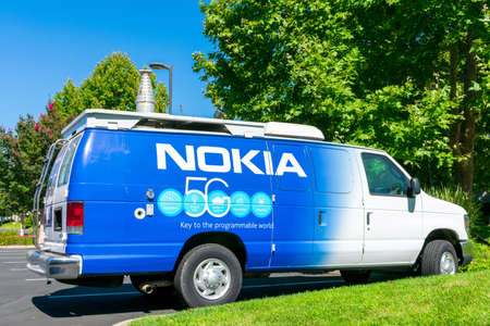 Nokia 5G wireless network architecture capabilities sign on the vehicle with telescopic 5G antenna - San Jose, California, USA - 2020 Editorial