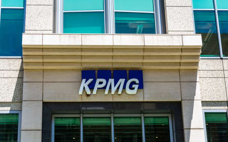 KPMG sign and logo on office building designed by Heller Manus - San Francisco, California, USA - 2020 Editorial