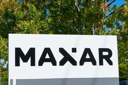 Maxar sign and logo. Maxar Technologies is a space technology company - Palo Alto, California, USA - 2020