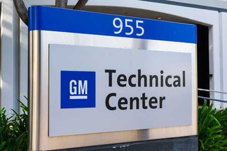 General Motors, GM, logo at Silicon Valley Technical Center campus - Sunnyvale, CA, USA - 2020