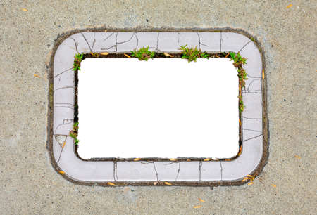 Empty cracked concrete frame with patches of green grass and small dry tree leaves on gray concrete surface for advertisement or decoration.