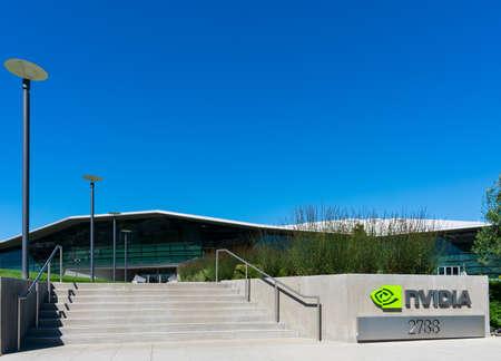 Nvidia headquarters campus facade in Silicon Valley, high-tech hub of San Francisco Bay Area - Santa Clara, CA, USA - October 2019 新聞圖片