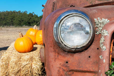 Headlight of abandoned and rusty car with several pumpkin laying on hay bale. Foto de archivo