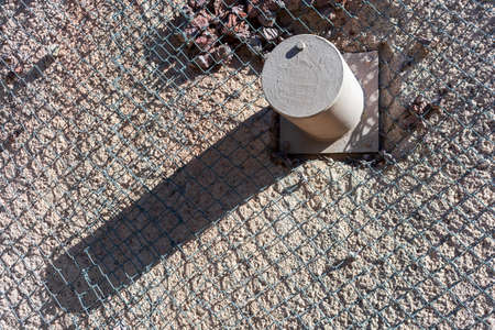 Rock sliding prevention. Mesh net and strong nail help to catch loosened rocks and boulders from steep slopes.