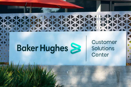 Baker Hughes sign at customer solution center of international industrial service company - San Jose, California, USA - 2020