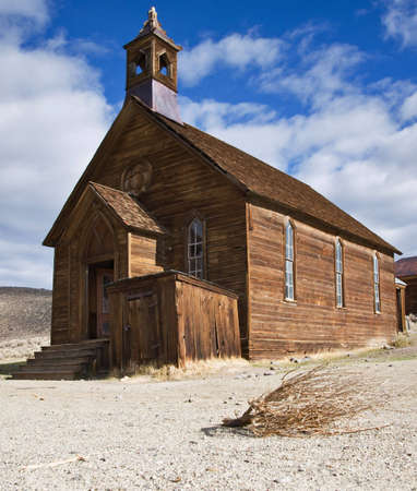 theological: Old wooden church in Bodie, ghost town in the Bodie Hills  Stock Photo