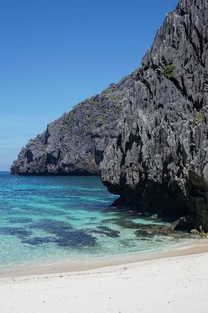 Rocky cliff coast at El Nido area in Palawan, Philippines