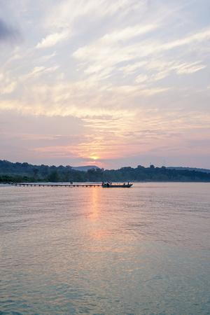 A cloudy sunrise at Sok San Long Beach on Koh Rong island in Cambodia Banco de Imagens