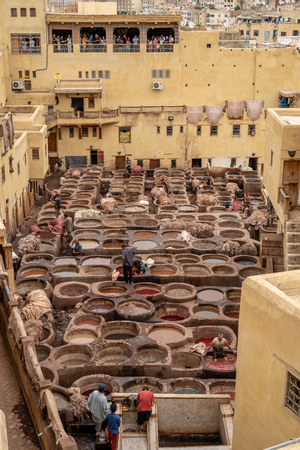 A view of the tanneries in Fes, Morocco