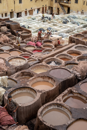 The tanneries of Fes from above, Morocco