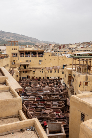 A view from above of the tanneries in Fes, Morocco Redactioneel