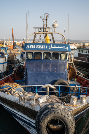 Essaouira, Morocco - September 21 2018 A fisher boat in the harbour of Essaouira, Morocco