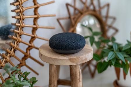 VIENNA, AUSTRIA - 4 aprile 2019: Google Home Mini su un tavolo di legno con piante verdi sullo sfondo