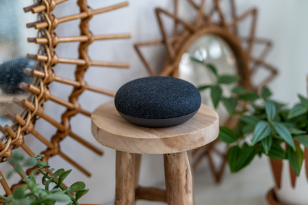VIENNA,AUSTRIA - April 4 2019: Google Home Mini on a wooden table with green plants in the background