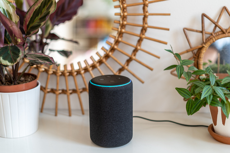 VIENNA,AUSTRIA - April 4 2019: Amazon Alexa Echo Plus on a white table with green plants in the background