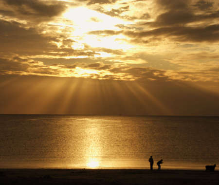 Two people backlit at the beach, playing with a dog photo