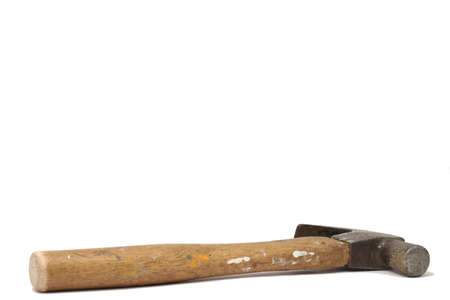 pounding head: A very used hammer, paint spots all over handle, a bit of rust on the head; isolated one white background Stock Photo