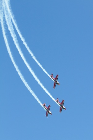 show off: Three airplanes in a dutch airshow