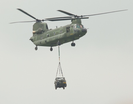 A Chinook helicopter in the sky Editorial