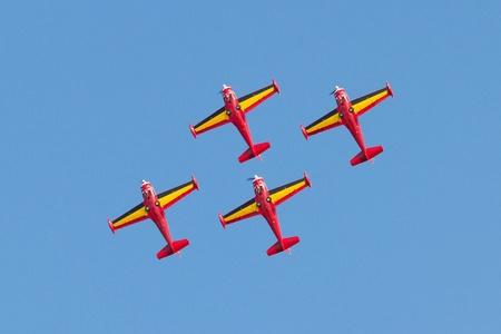 LEEUWARDEN,FRIESLAND,HOLLAND-SEPTEMBER 17  Belgium Red Devils at the Luchtmachtdagen Airshow on September 17, 2011 at Leeuwarden Airfield, Friesland, Holland  Stock Photo - 12690038