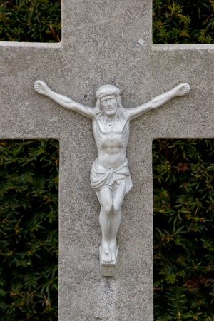 jezus: A statue of Jezus Chist on an old grave in Holland