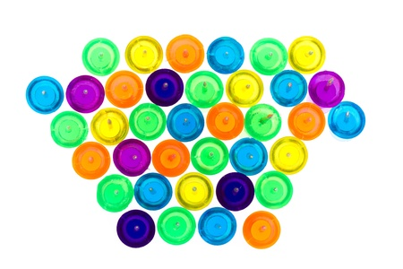 Set of colorful push pins isolated on a white background Stock Photo - 13348289