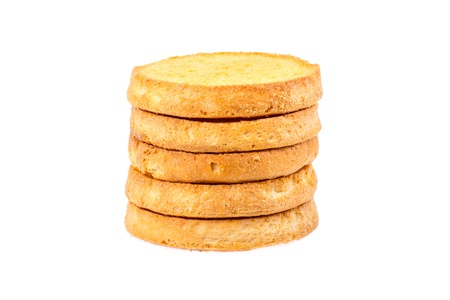 teaparty: Series of round rusk, isolated on background