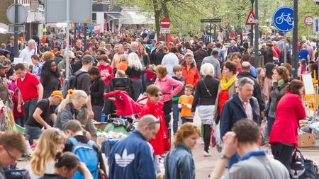 leeuwarden: LEEUWARDEN,FRIESLAND,HOLLAND-APRIL 30: A typical dutch flea market on Queens Day on April 30, 2012 at Leeuwarden,Friesland,Holland