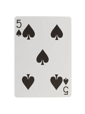 4 5: Playing card (five) isolated on a white background