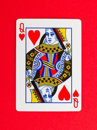 Playing card (queen) isolated on a red background