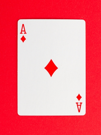 Playing card (ace) isolated on a red background
