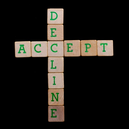 acceptation: Letters on old wooden blocks (accept, decline) Stock Photo