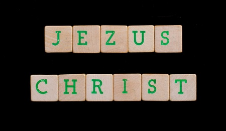 jezus: Green letters on old wooden blocks (Jezus Christ)