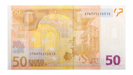 An isolated 50 euro banknote on a white background