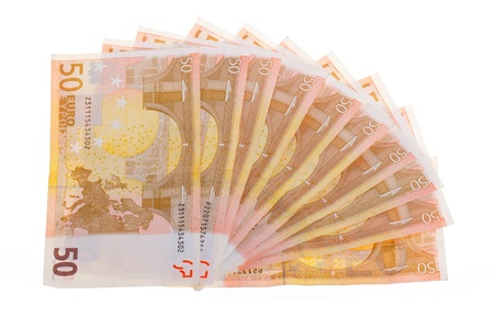 Some isolated 50 euro banknotes on a white background Stock Photo - 13652031