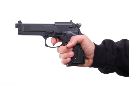 glock: Pistol in hand, isolated on white background