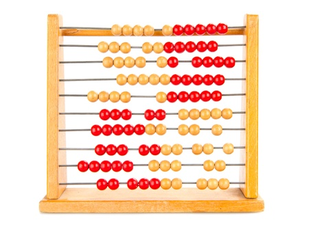Close-up of an old abacus on a white background