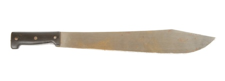 Rusted machete isolated on a white background