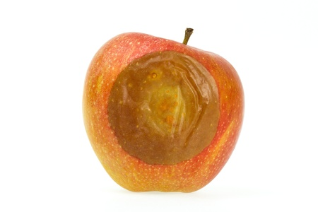 bad apple: One bad red apple isolated on white background Stock Photo