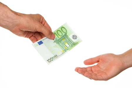 Man giving 100 euro to a woman, isolated on white Stock Photo - 13906130