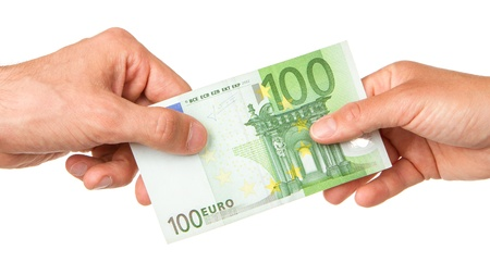 Man giving 100 euro to a woman, isolated on white Stock Photo - 13906101