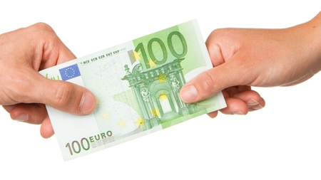 Man giving 100 euro to a woman, isolated on white photo