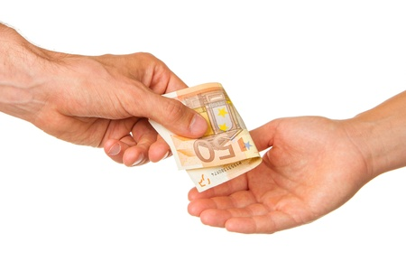 Man giving 50 euro to a woman, isolated on white Stock Photo - 13906283