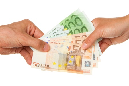 Man giving 450 euro to a woman, isolated on white Stock Photo