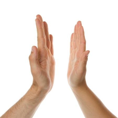 partnership power: High five, mans hand and a womans hand Stock Photo
