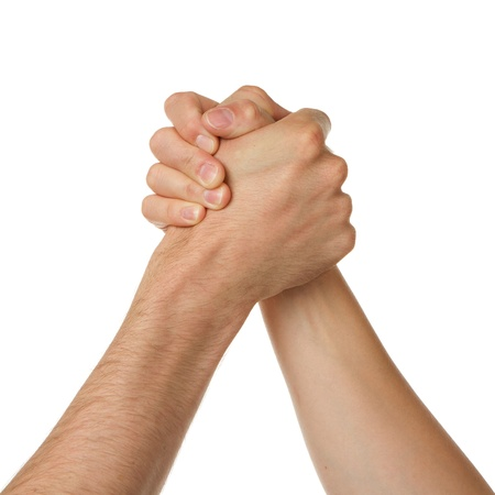 Man and woman in arm wrestlin, white background photo