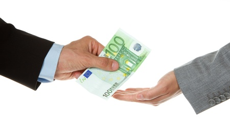 Man giving 100 euro to a woman (business), isolated on white Stock Photo - 13906089
