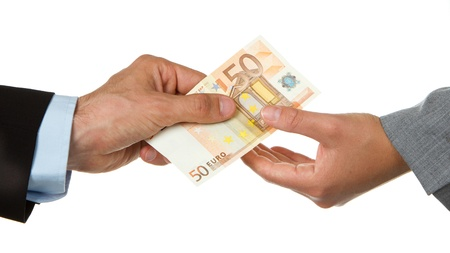 Man giving 50 euro to a woman (business), isolated on white
