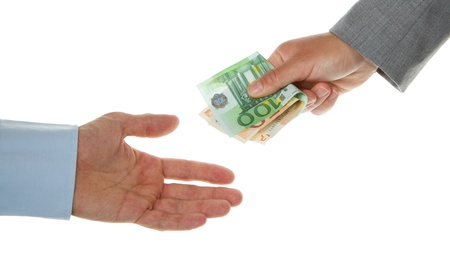 Woman giving 150 euro to a man (business), isolated on white