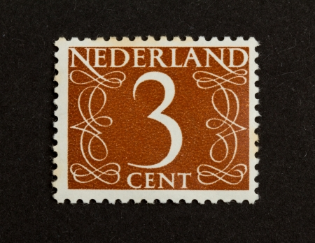 THE NETHERLANDS - CIRCA 1950: Stamp printed in the Netherlands shows the number 3, circa 1950